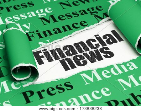 News concept: black text Financial News under the curled piece of Green torn paper with  Tag Cloud, 3D rendering