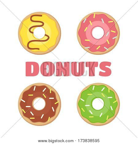 Donut vector. Donuts flat illustration. Donuts isolated icon. Donut vector