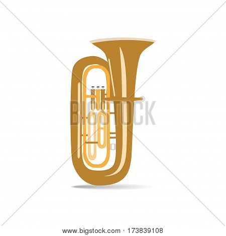 Tuba isolated on white background vector illustration. Wind brass musical instrument.