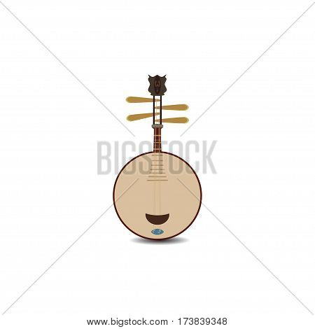 Vector yueqin icon isolated on white background. Chinese string plucked musical instrument.