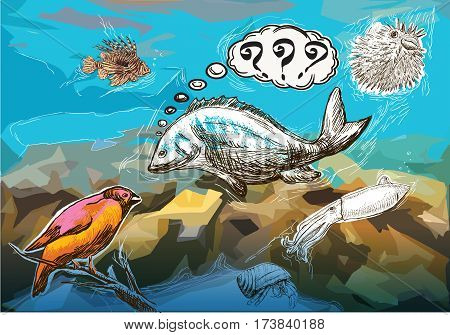 An hand drawn humorous vector - underwater meeting between sea animals and bird.
