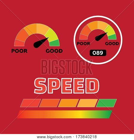 Credit score indicators and gauges vector set. Score indicators vector
