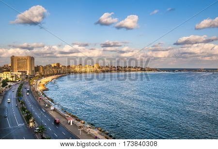 Highly detailed image of Alexandria harbor Egypt