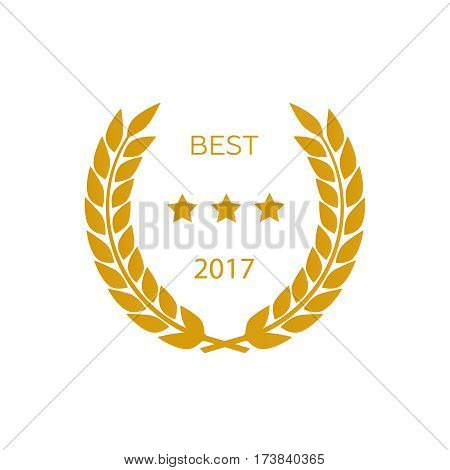 Vector gold award laurel wreath. Winner label leaf symbol victory. Gold award vector