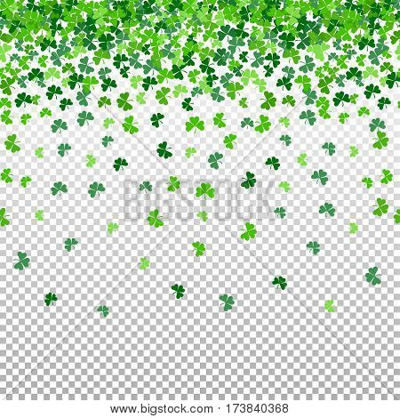 Seamless pattern with shamrock clover falling leaves on transparent background. Endless texture for Saint Patrick s Day design. Art vector illustration.