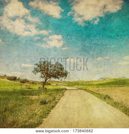 Highly detailed grunge image of countryside road