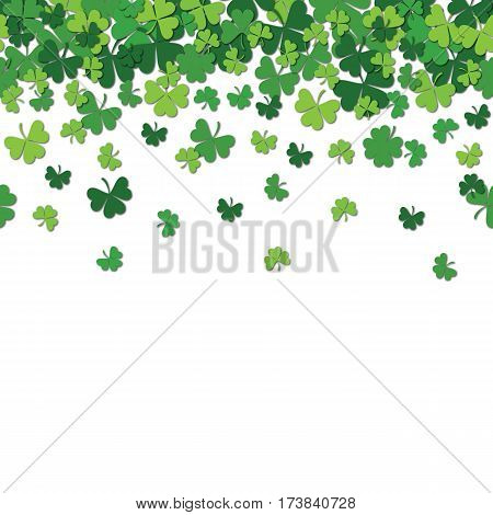 Seamless pattern with shamrock clover falling leaves isolated on white background. Endless texture for Saint Patrick s Day design. Art vector illustration.