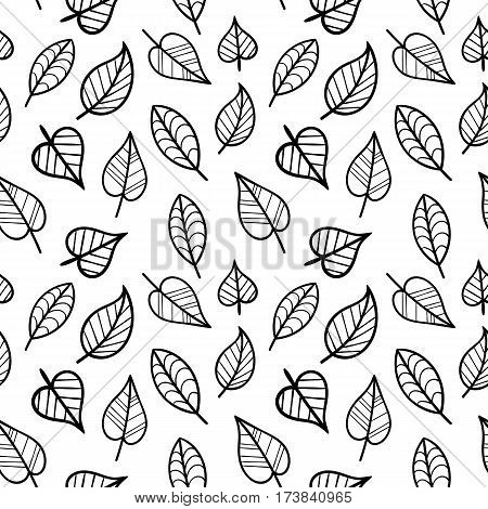 Coloring Page Seamless Pattern with Fall. Black and White Contour Leaves for Coloring Book. Doodle Art leaves Continued background.