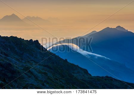sunrise in Mont Blanc. View from Lac Blanc France