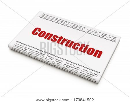 Construction concept: newspaper headline Construction on White background, 3D rendering