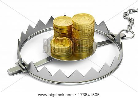 Credit trap with golden coins 3D rendering isolated on white background
