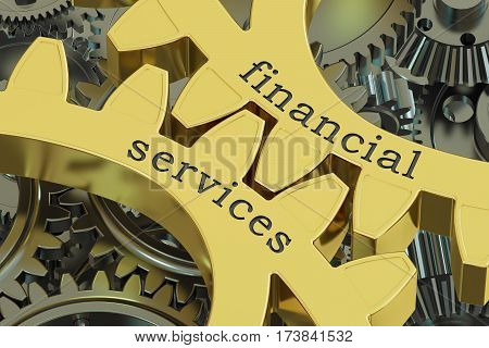 Financial Services concept on the gearwheels 3D rendering