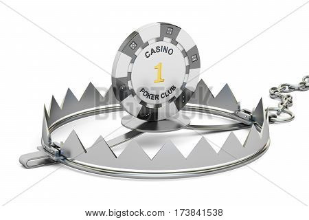 Gambling Addiction concept. Trap with gaming casino chip 3D rendering