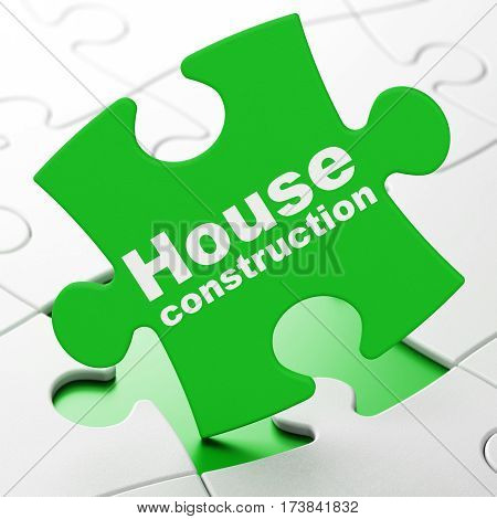 Constructing concept: House Construction on Green puzzle pieces background, 3D rendering