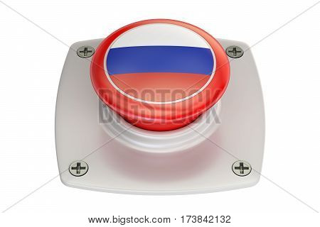 Russia flag push button 3D rendering on white