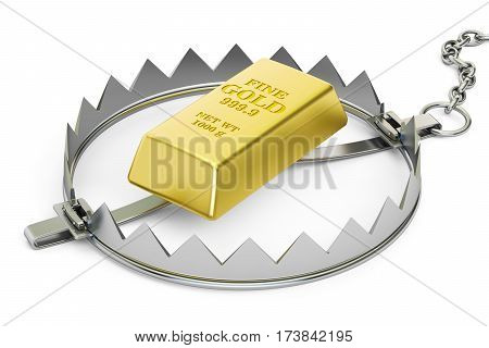 Trap with golden ingot 3D rendering isolated on white background