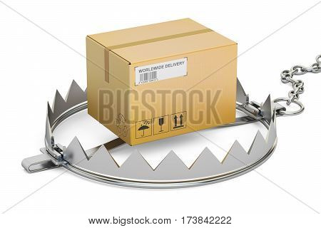 trap with parcel 3D rendering isolated on white background