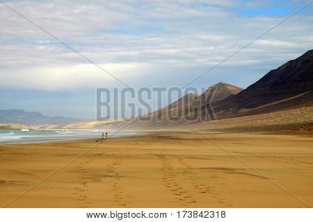 View on famous beach Playa de Cofete with yellow sand moountains blue sky and a romantic couple far away walking along it. Canary Island Fuerteventura Spain.