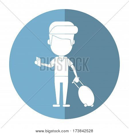 man traveling passport dragging luggage shadow vector illustration eps 10
