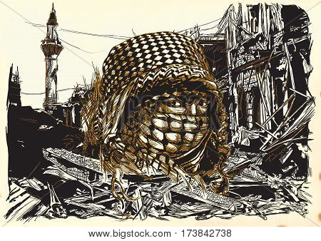 Muslim woman with big eyes wearing a niqab in front of War place. Hand drawn vector illustration. Ruins of an town city. Drawing on paper. Islamic Muslim World. - - Note: This is not a real person - -