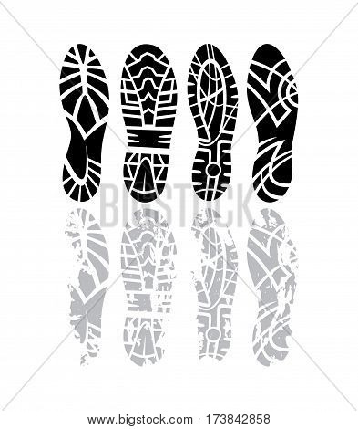 footprint sport shoes grunge vector stock set
