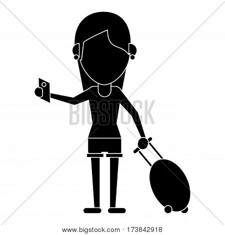 girl tourist passport and baggage pictogram vector illustration eps 10