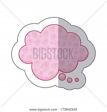 callout for dialogue shape of cloud sticker with pink background and swirls vector illustration