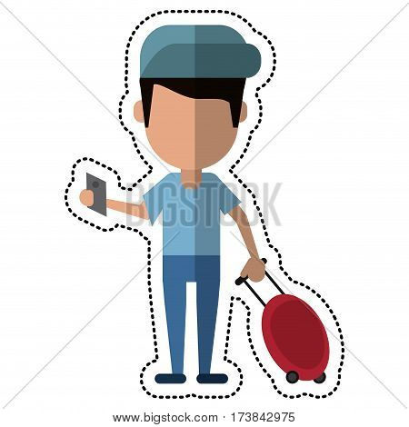cartoon man traveling passport dragging luggage vector illustration eps 10