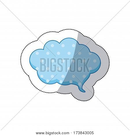 callout for dialogue shape of cloud sticker with blue background and dots vector illustration
