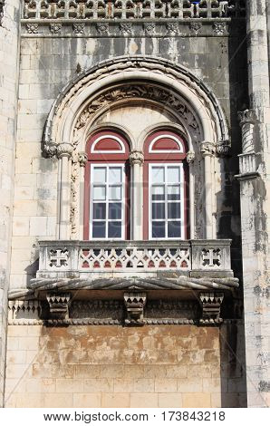 Window in the Jeronimos Monastery in Lisbon, Portugal