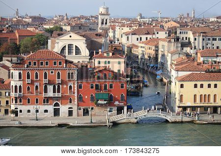 Aerial view of channels in Venice, Italy