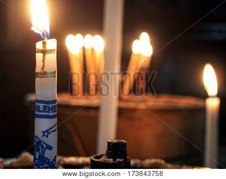 Prayer Candles At Churcch Of The Nativity In Bethlehem