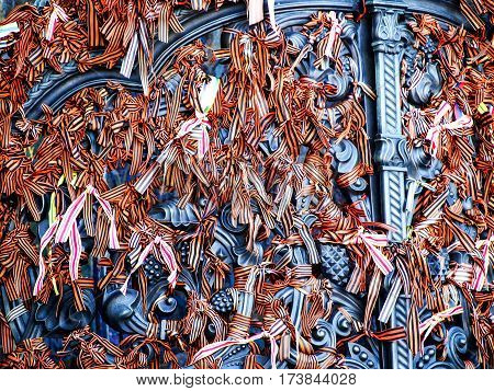 Orange Ribbons Tied To Gate At Kronstadt Naval Cathedral Russia