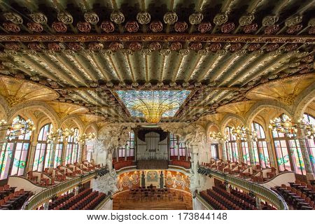 BARCELONA, SPAIN - FEB 16: The Palau de la Musica Catalana is a concert hall, built by the architect Lluis Domenech i Montaner between 1905 and 1908, on Febrary 16, 2017. Barcelona