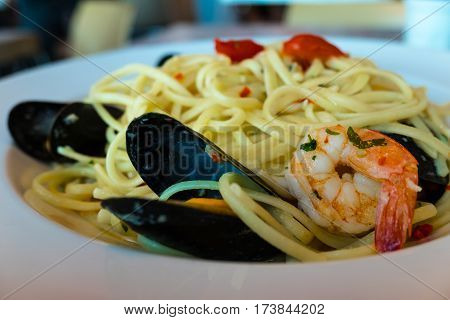 Seafood linguine with mussels and tiger prawns