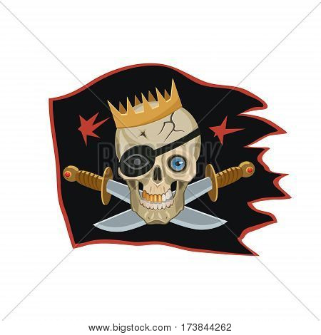 The king of the pirates black flag seeing the eyes on the skull with a black blindfold and a Golden crown knives place of bones