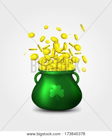 Green pot of gold coins on white background. Irish holiday, celebration party. Irish holiday Saint Patrick's Day. Vector illustration