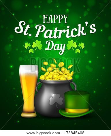 Black pot of gold coins, glass of beer and hat on green background. Irish holiday Saint Patrick's Day. Vector illustration for greeting card, poster, banner.