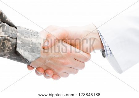 Doctor And Military Man Shaking Hands On White Background - Close Up Studio Shot