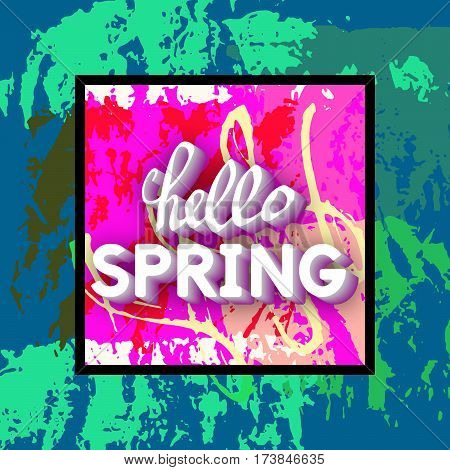 Spring Greeting Vector Illustration. Best design. Decorative text with hand-drawn texture. Congratulations on the arrival of Springtime. Template for banners postcards brochures placards flyers.