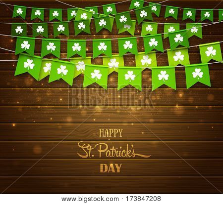 Green festive bunting with clovers on wood background. Irish holiday, celebration party. Happy Saint Patrick's Day backdrop with garlands. Vector illustration for greeting card, poster, banner