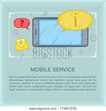 Call center concept mobile. Cartoon illustration of call center vector concept for web