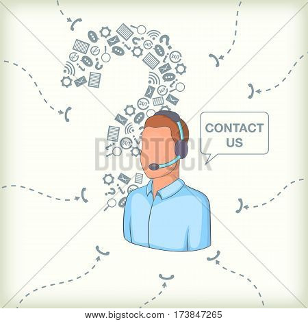 Call center concept question man. Cartoon illustration of call center vector concept for web