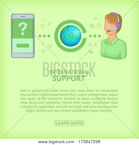 Call center concept cellphone girl. Cartoon illustration of call center vector concept for web