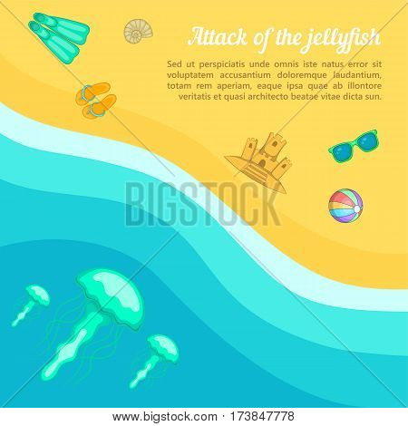 Sea rest concept beach jellyfish. Cartoon illustration of sea rest vector concept for web