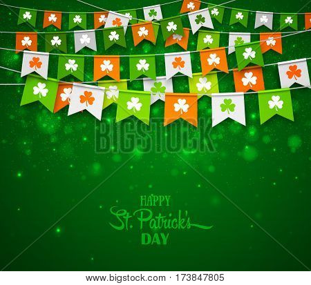 Colorful festive bunting with clover on green background. Irish holiday - happy Saint Patrick's Day backdrop with garland flags. Vector illustration for greeting card, poster, banner