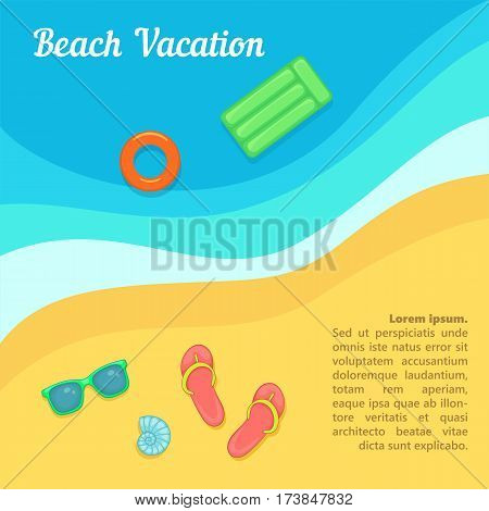 Sea rest concept beach swimming. Cartoon illustration of sea rest vector concept for web