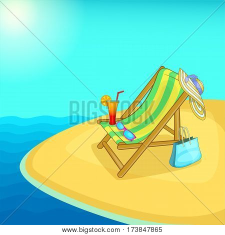 Sea rest concept lounge. Cartoon illustration of sea rest vector concept for web