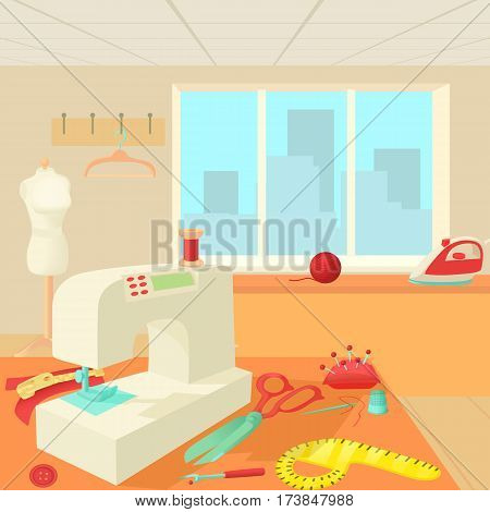 Tailor room concept. Cartoon illustration of tailor room vector concept for web