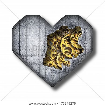Heart Of The Broken Metal Plates With A Mechanism, Illustration 3D
